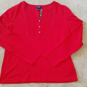 Chaps Button Front Pullover Top Sz XL